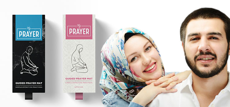 A Muslim couple standing next to a mens learn to pray My Prayer Pack and a womens learn to pray my prayer pack