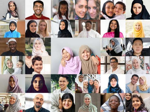 Collage of people from all races and ethnicity who are Muslim