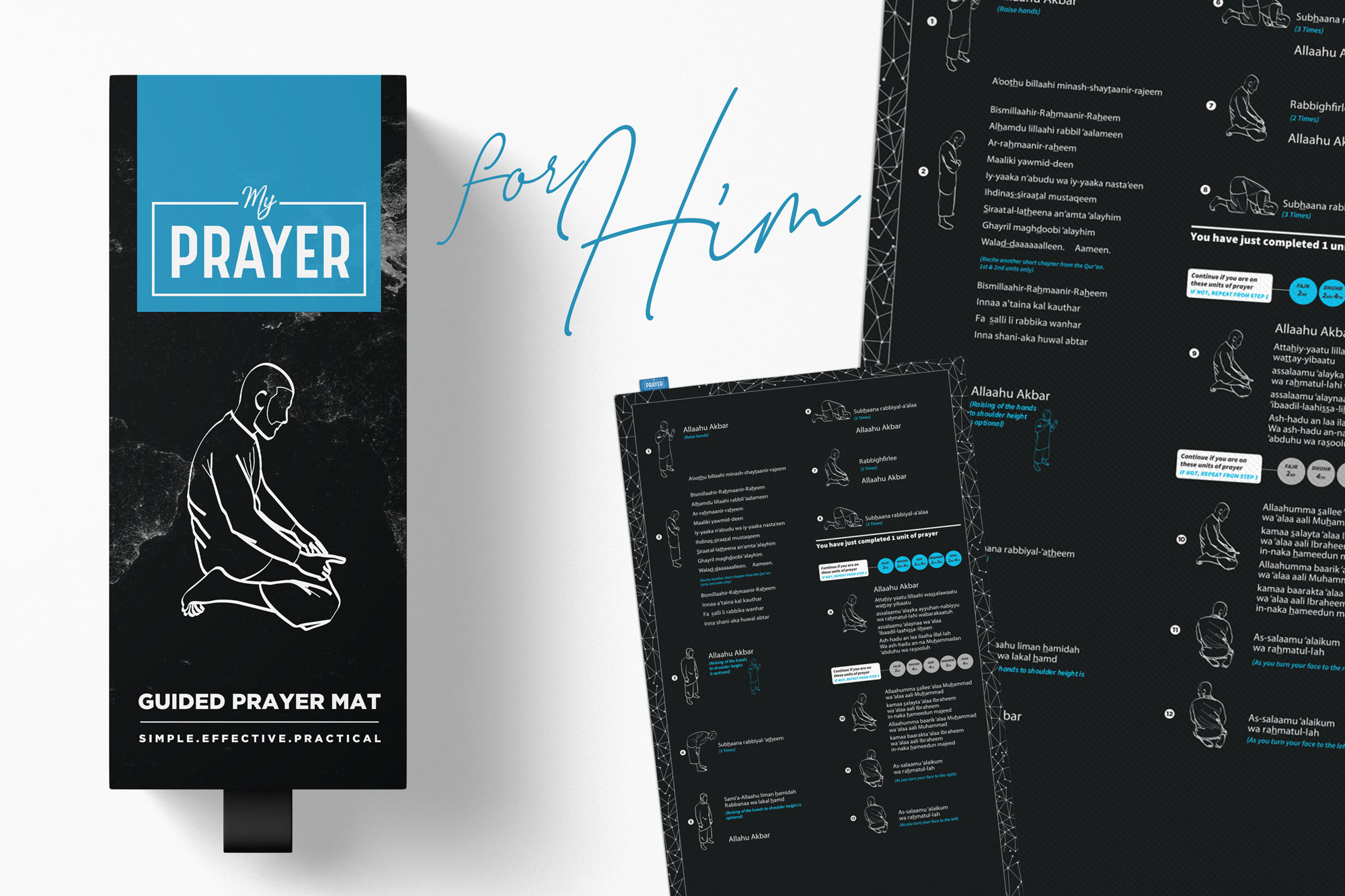 Muslim men learn how to pray with ease with the Guided Prayer Mat from Tenfold