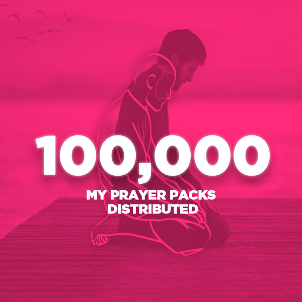 An image of a man praying overlayed with a pink colour and the words 100,000 my prayer packs distributed