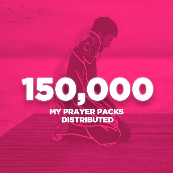 An image of a man praying overlayed with a pink colour and the words 150,000 my prayer packs distributed