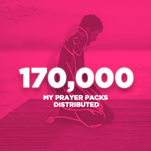 An image of a man praying overlayed with a pink colour and the words 170,000 my prayer packs distributed