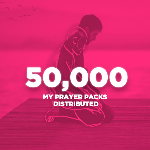 An image of a man praying overlayed with a pink colour and the words 50,000 my prayer packs distributed