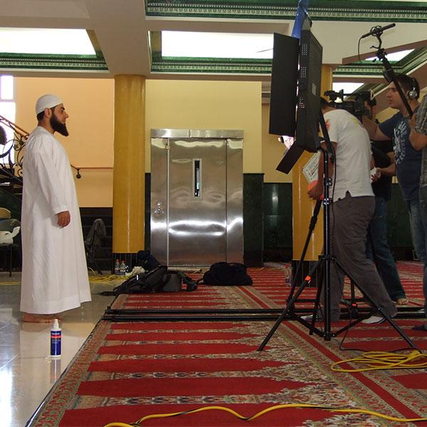 Sheikh Bilal Dannoun on set shooting the videos for My Prayer