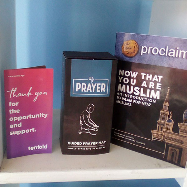 A My Prayer pack displayed on the shelf of a Dawah centre in South Africa