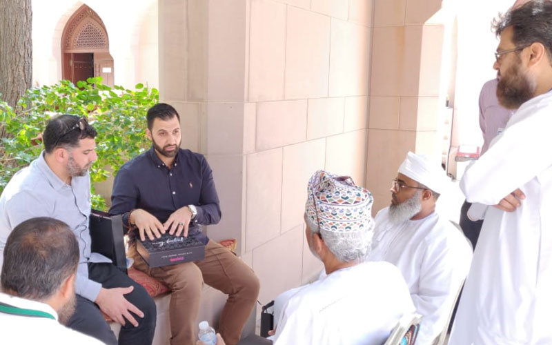 Mohammad Quadan discussing the Tenfold approach to Da'wah to the organisation who are in charge of the Religous affairs at sultan Qaboos Mosque in Muscat Oman