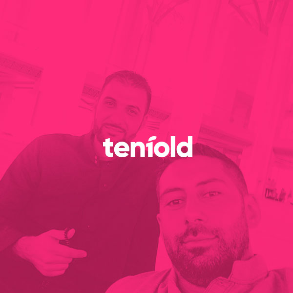 An image of mohammad and Ibrahim overlayed with a pink colour and the tenfold logo
