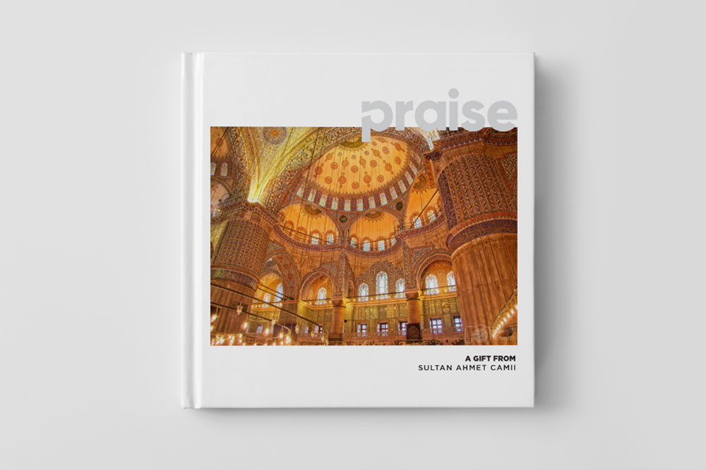 A picture of the Da'wah book titled 'Praise' which will be given to non-Muslims at the Sultan ahmet mosque in Istanbul, Turkey
