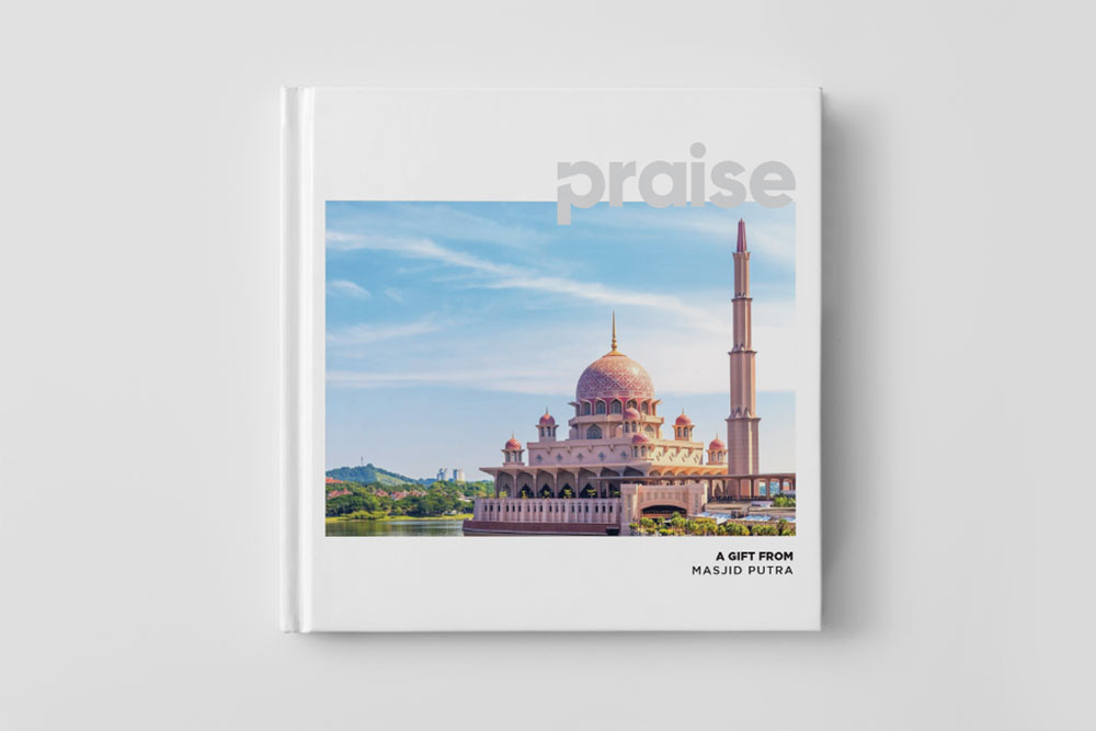 A picture of the Da'wah book titled 'Praise' which will be given to non-Muslims at the Masjid Putra, the Pink mosque in Putrajaya Malaysia