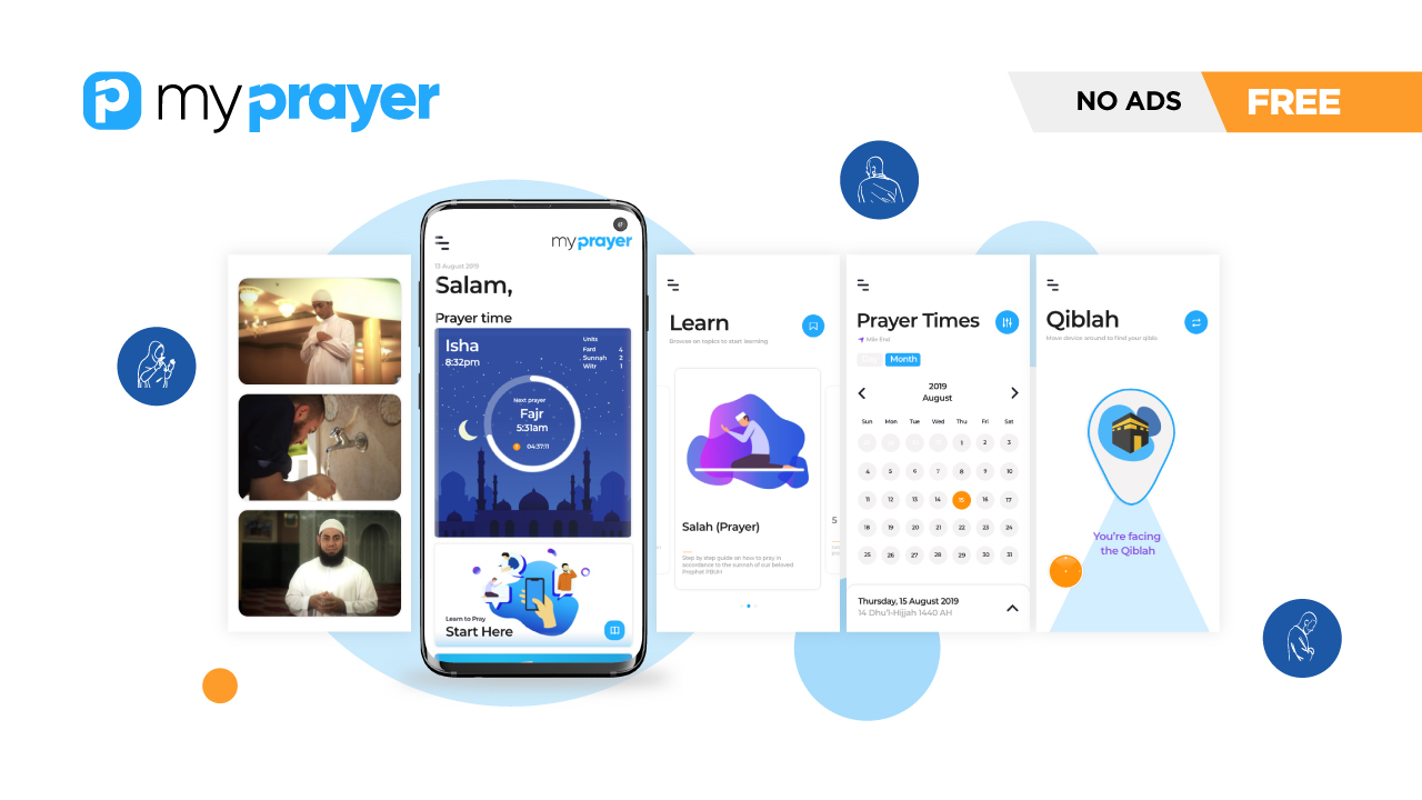 Learn to pray the easy way with the My Prayer App. An image showing multiple screens of the app which teaches Muslims how to perform salat, namaz and prayer