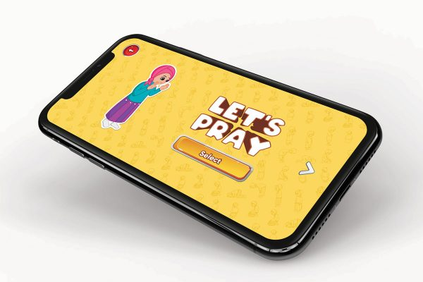 An image of the app embedded on a mobile phone for children to learn how to perform prayer with the my 1st prayer book, app and prayer mat