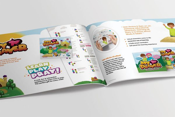 an image of the step by step instruction for children to learn how to perform prayer with the my 1st prayer book, app and prayer mat