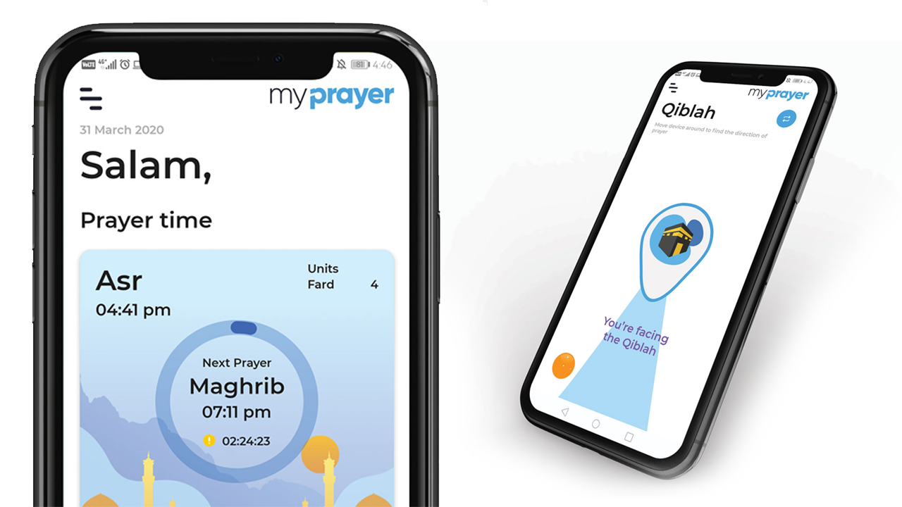 Learn to pray the easy way with the My Prayer App. An upclose image showing the phone with the app which teaches Muslims how to perform salat, namaz and prayer